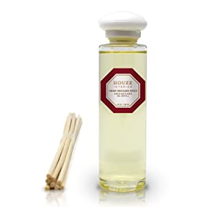 HOUZZ Interior Crisp Orchard Spice Diffuser Refill Oil and Reed Sticks – Red Delicious Apples, Fragrant Cinnamon and Clove, Peach and Desert Sandalwood – A Festive Holiday Fragrance – 4 Ounces