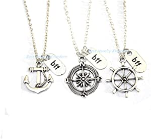 2 Best Friends,BFF Necklace for 3,3 Best Friend Necklace,Three BFF,3 Friend Necklace,Best Friend Necklace - Anchor - Rudder - Compass - Friendship Necklace – Gift
