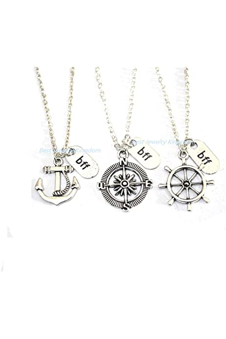 Amazon Com 2 Best Friends Bff Necklace For 3 3 Best Friend Necklace Three Bff 3 Friend Necklace Best Friend Necklace Anchor Rudder Compass Friendship Necklace Gift Arts Crafts Sewing