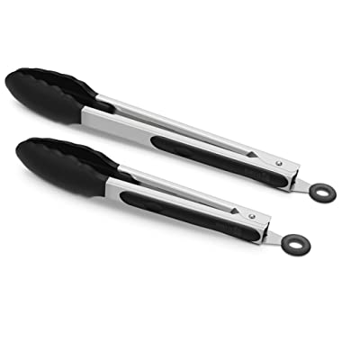 2 Pack Black Kitchen Tongs, Premium Silicone BPA Free Non-Stick Stainless Steel BBQ Cooking Grilling Locking Food Tongs, 9-Inch & 12-Inch
