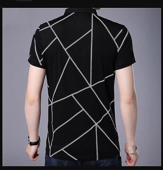 Sommer-Männer gestreiften Kurzarm-T-Shirt Revers Mode Casual Hemd mit  kurzen Ärmeln Schlankes Herrenhemd  Amazon.de  Bekleidung 37bb8b0f50