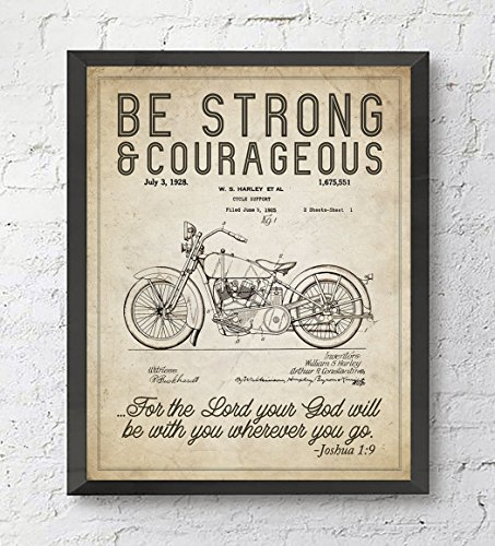 Motorcycle Decor - Be Strong and Courageous Joshua 1:9 Bible Verse Patent Art Print, Unframed, Vintage Harley Davidson Motorcycle Patent, Christian Wall Art Decor Poster Sign, 8x10