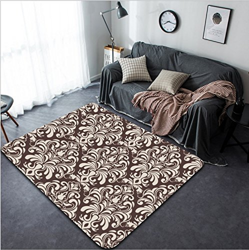 Vanfan Design Home Decorative 148690778 Vector damask seamless pattern background Elegant luxury texture for wallpapers backgrounds and page fill Modern Non-Slip Doormats Carpet for Living Dining Ro