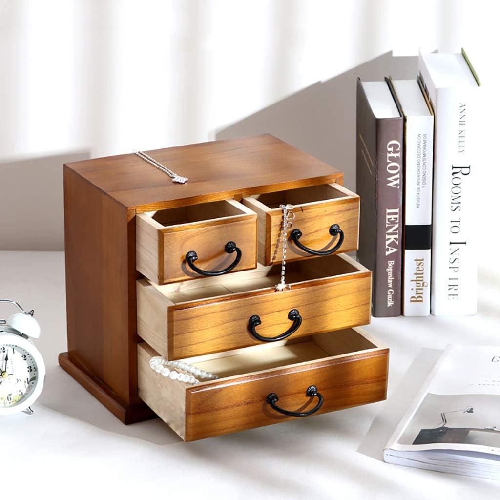 Desktop Organizer Storage Box with Drawers for Monitor Stand//Printer Platform Wood File Cabinet