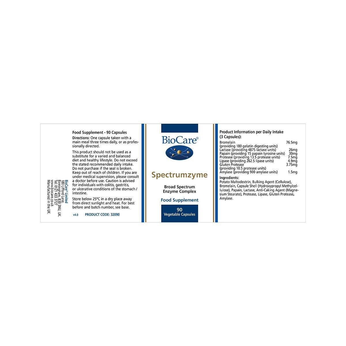 Biocare Spectrumzyme (broad spectrum digestive enzymes), 90 ...