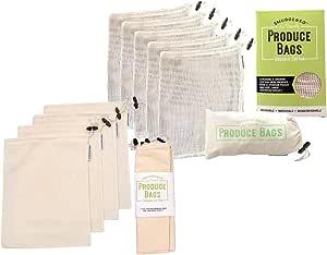 Premium Reusable Produce Shopping Bag 10 Piece Set | Organic Cotton Muslin + Mesh | for Shopping, Produce, Markets, Fruit, Veg, Bread, Bulk Goods
