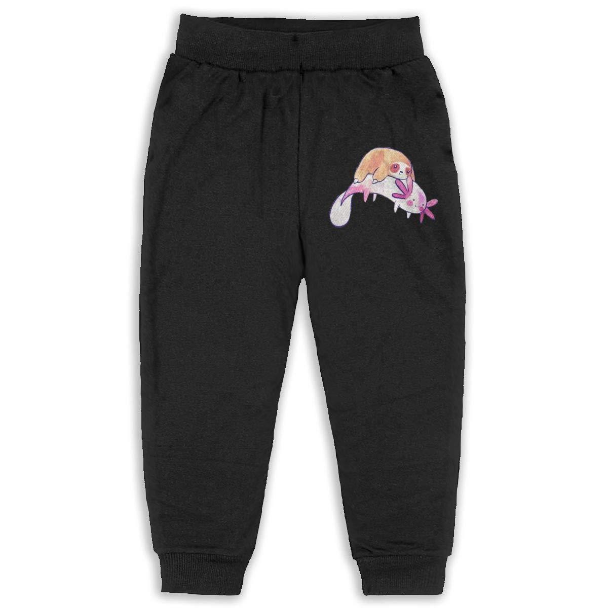 Fleece Active Joggers Elastic Pants DaXi1 Sloth Sweatpants for Boys /& Girls