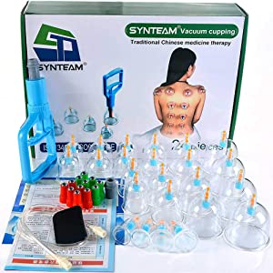 Synteam 24-Cup Vacuum Cupping Set, Professional Biomagnetic Chinese Cupping Therapy Sets with Big Sized Cups (Blue)