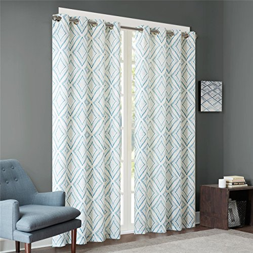 Ink+Ivy Aqua Curtains for Living Room, Modern Contemporary Grommet Curtains for Bedroom, Bas Print Fabric Light Window Curtains, 50X84, 1-Panel Pack (Drapes Contemporary)