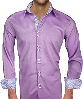 product image for Purple with Blue Paisley Designer Dress Shirt - Made in USA