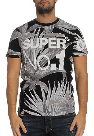 Superdry Camiseta de Men Oversized No 1 AOP Black Negro S: Amazon ...