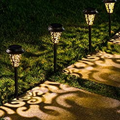 Garden and Outdoor LeiDrail Solar Pathway Lights Outdoor Garden Path Light Warm White LED Black Metal Stake Landscape Lighting Waterproof… outdoor lighting
