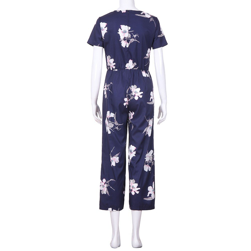 Womens Long Floral Print Jumpsuits V Neck Short Sleeve Casual Wide Leg Rompers by Bravetoshop Navy, M