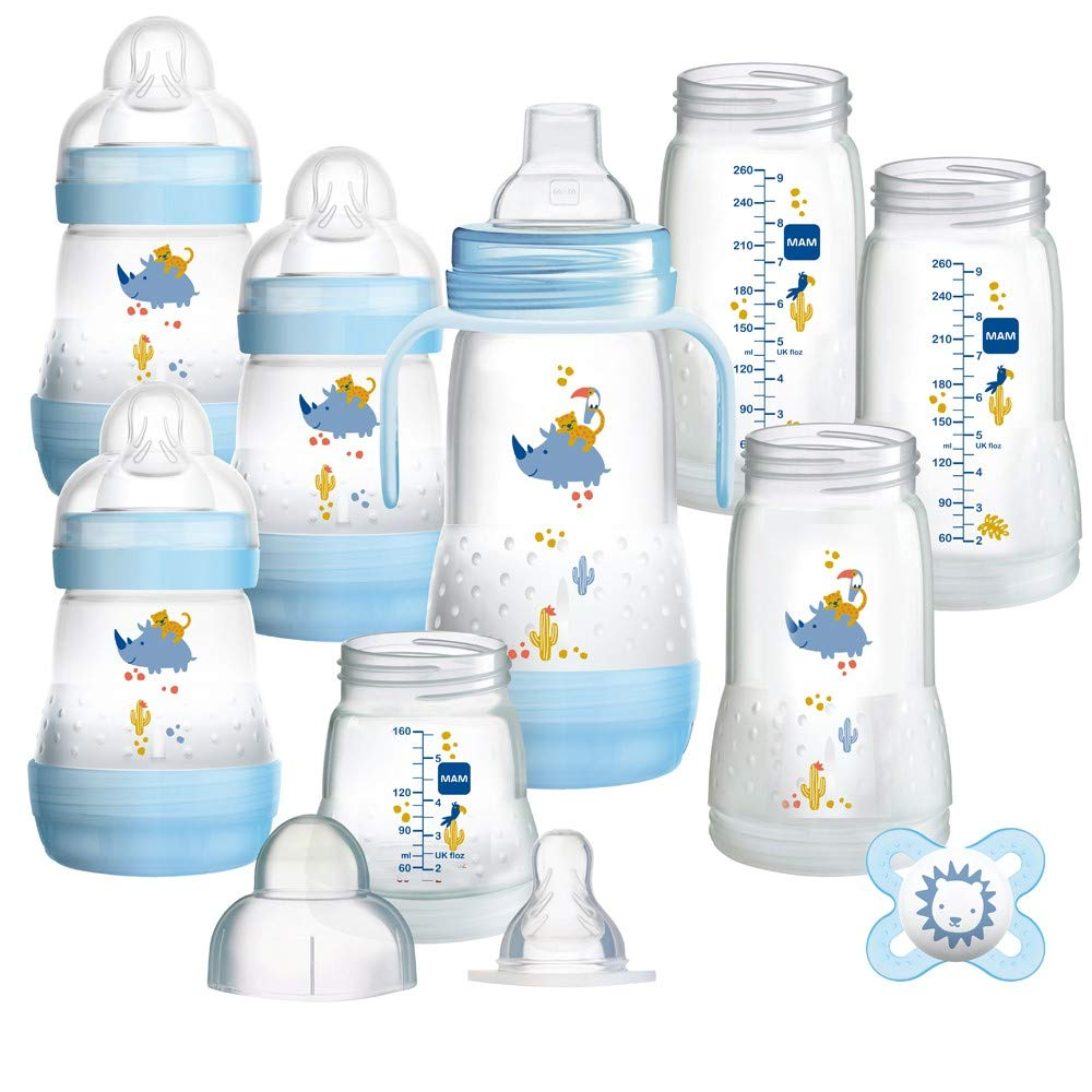 Mam Easy Start Anti-Colic Baby Bottle Set Self Sterilising Anti Colic Starter Set 11 Pieces (Starter-BOY)- New Design