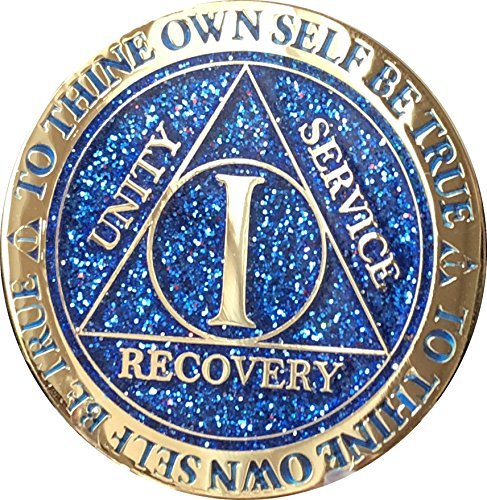 1 Year AA Medallion Reflex Blue Glitter Gold Plated Color -