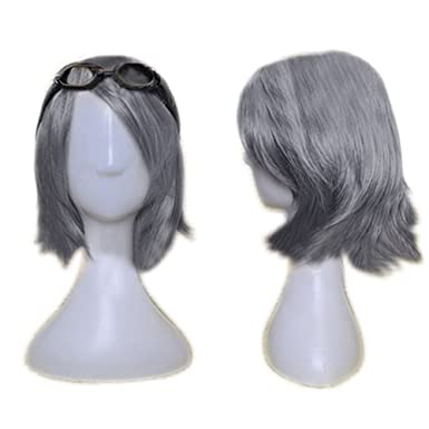 Halloween Wig Inclined Bang Short Hair Cosplay Costume Wigs Accessories   Amazon.co.uk  Clothing ebc35588b957