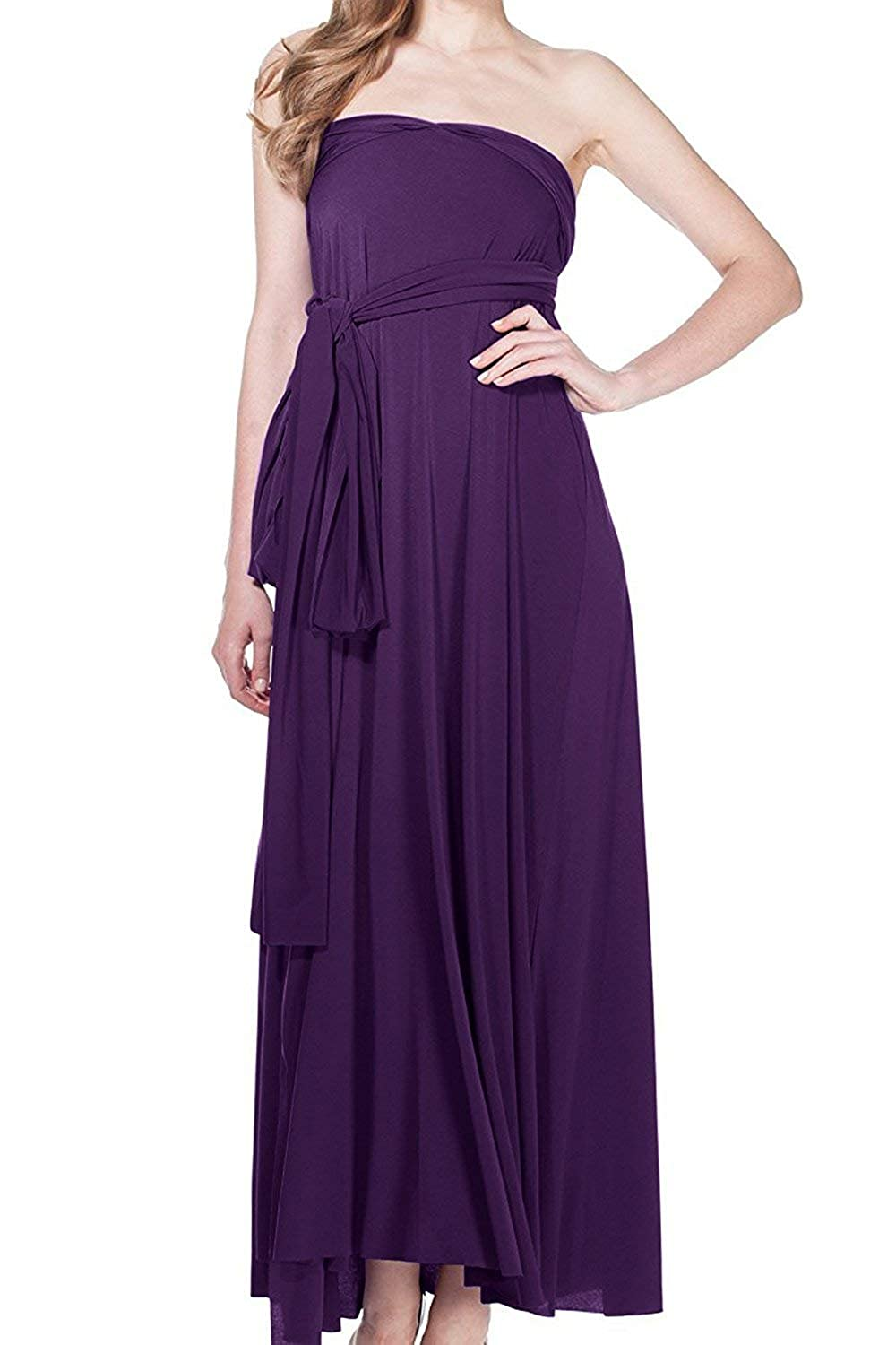 Women Elegant Bridesmaid Multiway Wrap Convertible Dress V Neck Off Shoulder Evening Party Maxi Long Cocktail Dress Solid Color Empire Infinity Bandage Wrap Formal Prom Gown Maternity Wear XS XL
