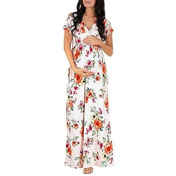 c44eb2a0050 Amazon.com   Womens V Neck Floral Maxi Nursing Pregnancy Dress Summer  Casual Maternity Short Sleeve Maxi Long Dresses (M