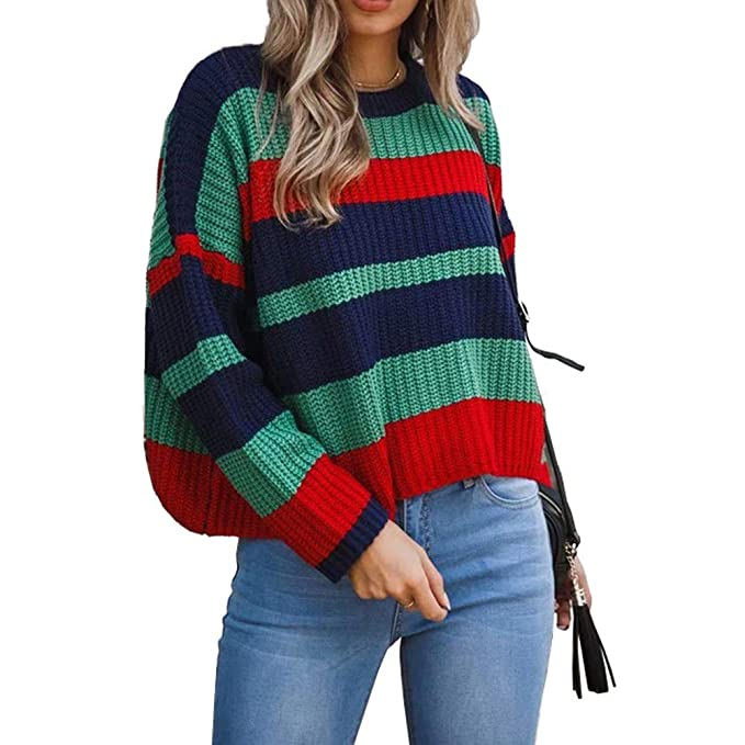 68663725 NPRADLA Women 2018 Fashion Blouse Long Sleeve Winter Knitted Patchwork Tops  Loose Sweater: Amazon.co.uk: Clothing