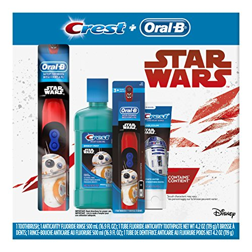 Oral-B and Crest Kids Premium Holiday Pack Featuring Disney's STAR WARS with Battery Toothbrush, Toothpaste & - Care Toothbrush Dental