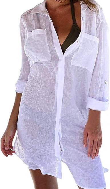 SHOBDW Moda Mujeres con Cuello en V Otoño Invierno Camisa de Manga Larga Lino Blusa Suelta Casual Botón Tops Camisa Formal para Mujer