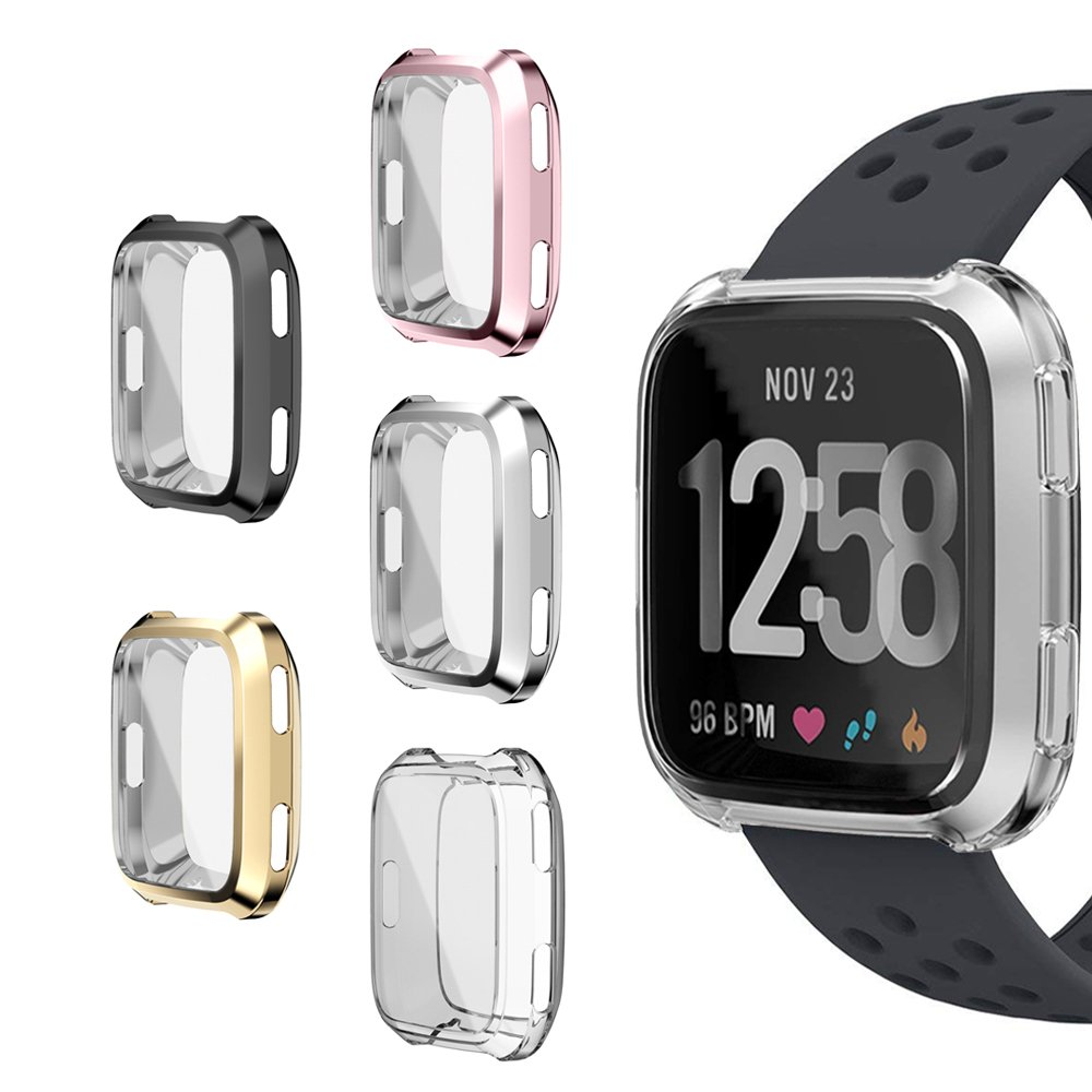 SIRUIBO Compatible Fitbit Versa Screen Protector, TPU Plated All-Around Protective Bumper Case Cover Shell Compatible Fitbit Versa Smartwatch, 5 Pack by SIRUIBO
