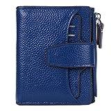 AINIMOER Women's RFID Blocking Leather Small Compact Bi-fold Zipper Pocket Wallet Card Case Purse (Lichee Blue)