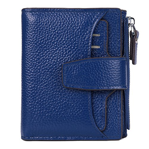 AINIMOER Women's RFID Blocking Leather Small Compact Bi-fold Zipper Pocket Wallet Card Case Purse (Lichee Blue)