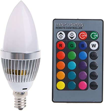 E12 Candelabra RGB LED Light Bulbs Lustaled 3W Dimmable C35 Color Changing LED