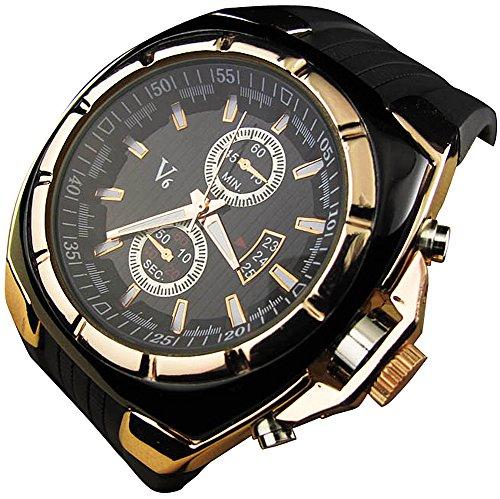 YouYouPifa Fashion Luxury Rubber Strap Quartz Sports Wrist Watch (Gold)