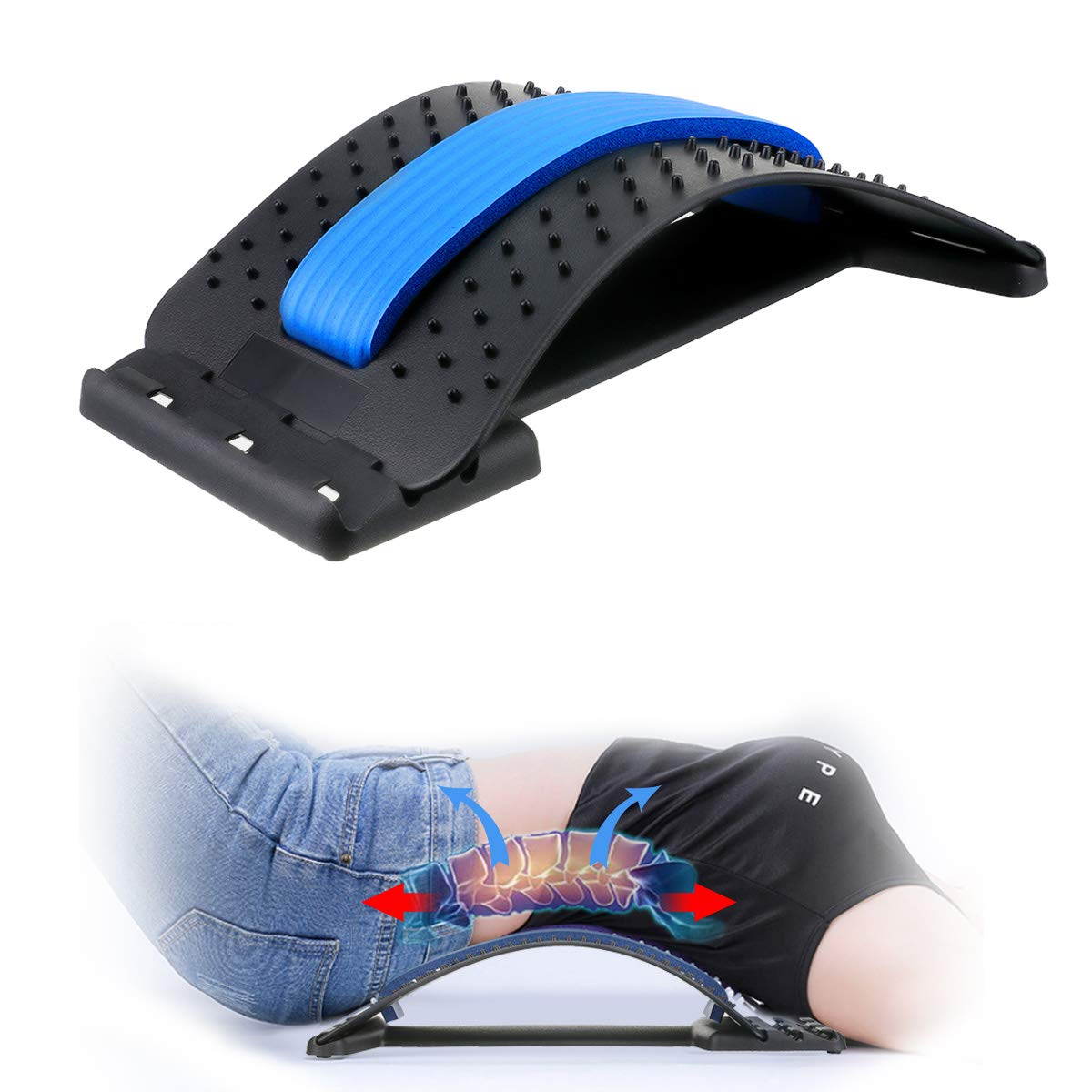 Back Stretcher,Lumbar Support Device Adjustable Pain Relief Back Massager Back Stretching Treatment for Spinal Stenosis Herniated Disc,Sciatica,Scoliosis Lumbar Back Stretcher
