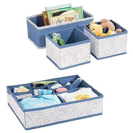 mDesign Juego de 4 cajas organizadoras de polipropileno para dormitorios – Organizadores para armarios de bebés