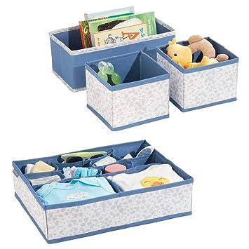 mDesign boîte de rangement pour chambre d\'enfant en polypropylène (lot de  4) – bac de rangement pour accessoires de bébé – aussi comme organiseur de  ...