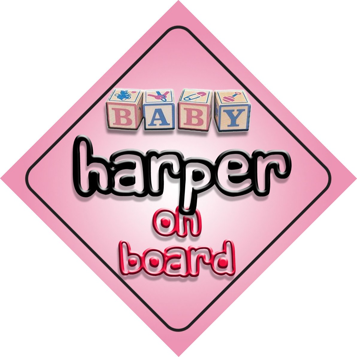 Baby Girl Harper on board novelty car sign gift/present for new child/newborn baby