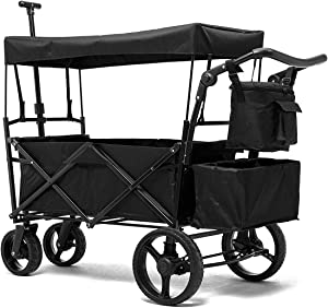 PA Collapsible Folding Wagon Foldable Outdoor Beach Shopping Garden Cart with Wheels Push Or Pull (IPA009118B)