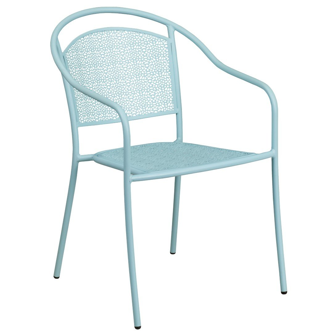 MFO Sky Blue Indoor-Outdoor Steel Patio Arm Chair with Round Back
