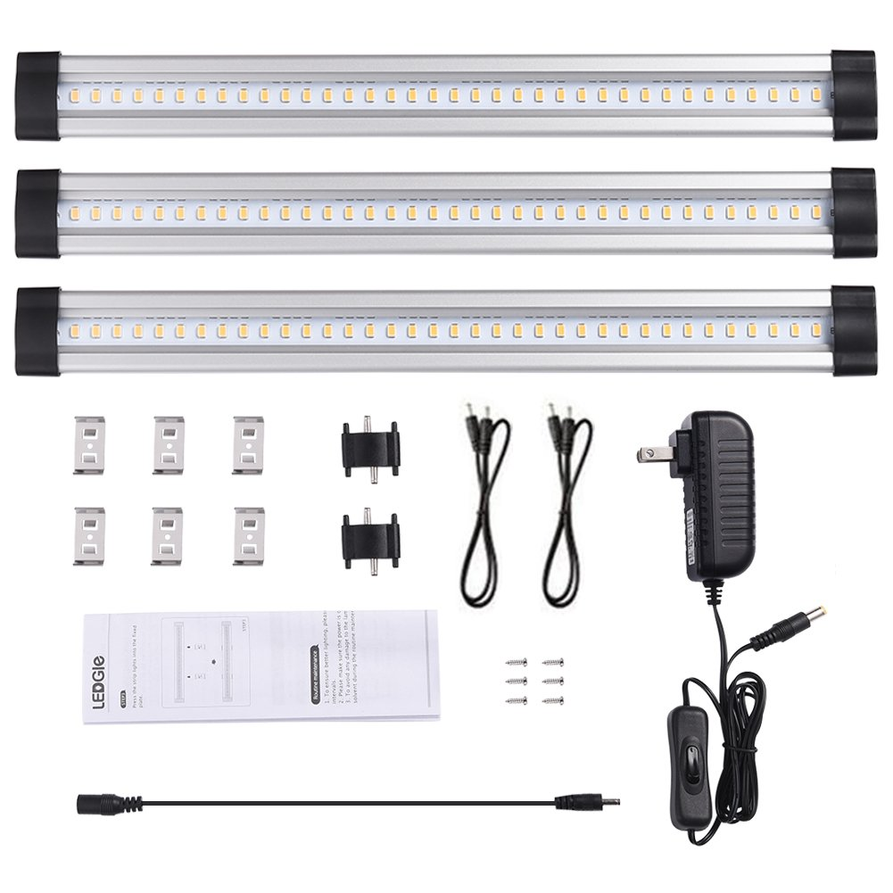 LEDGLE LED Under Cabinet Lighting, 3 Panel Kit, 12W Total, 12 V DC, 950lm, 3000K Warm White, 30W Fluorescent Tube Equivalent, All Accessories Included, 12in Under Counter Kitchen Lights, Closet Light