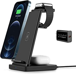 Wireless Charging Stand, SHRMIA 3 in 1 Wireless Charger Charging Station Dock for Apple Watch 6 5 4 3 2, Airpods Pro, iPhone 11/11 Pro/X/Xr/Xs/8 Plus (with Quick Charge 3.0 Adapter)