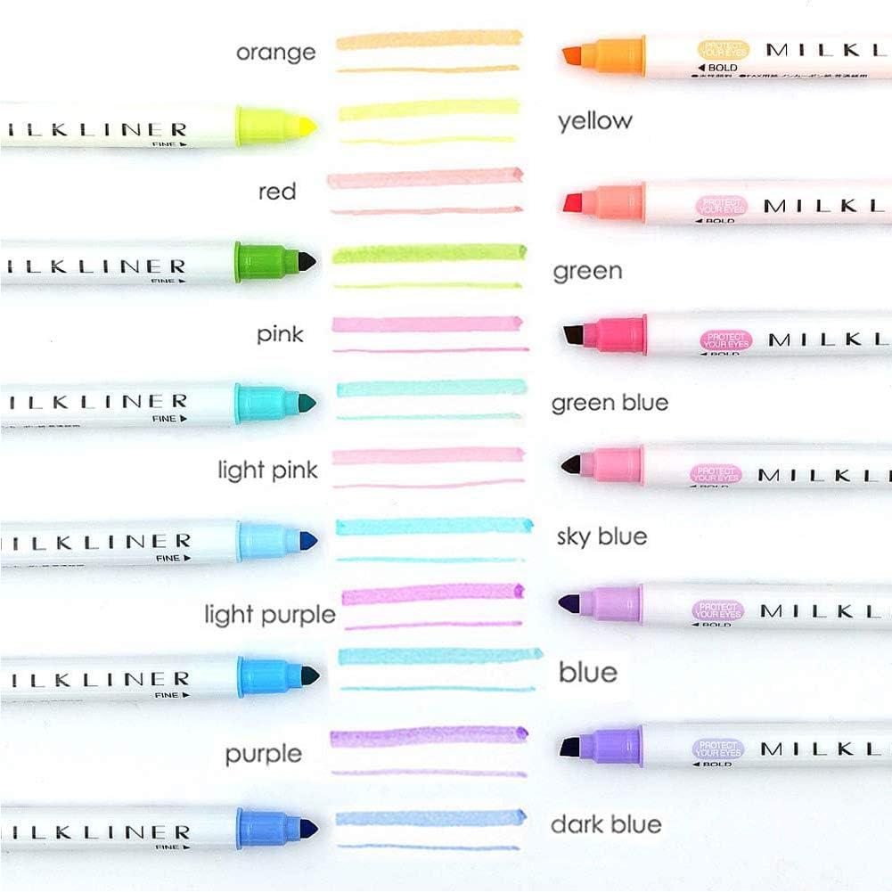 12 Piezas,Subrayadores Color Pastel,rotuladores de punta doble,Rotulador de Doble Punta,Subrayadores.
