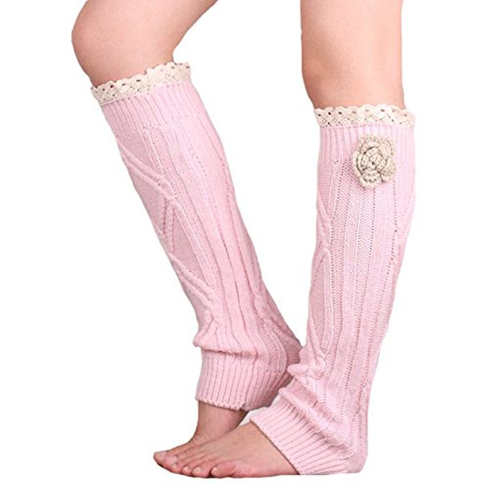 Soft knit Knee High Boot Cuffs Leg warmers with handmade flower Lace trim (Pink)