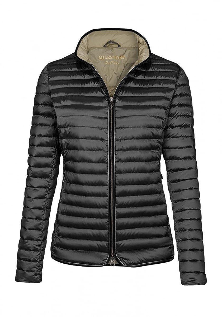 C & A Damen Schöne leichte Daunen Jacke mit Kapuze blau grau