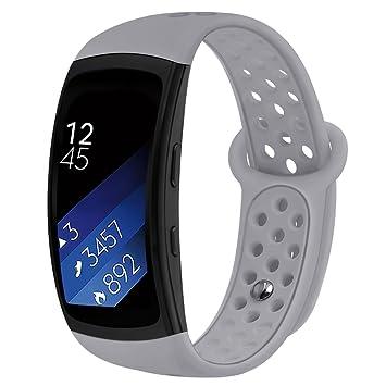 Kmasic Gear Fit2 Pro / Fit2 Bands, Correa de Repuesto de Silicona para Samsung Gear Fit 2 y 2 Pro Tracker (Gris-A)