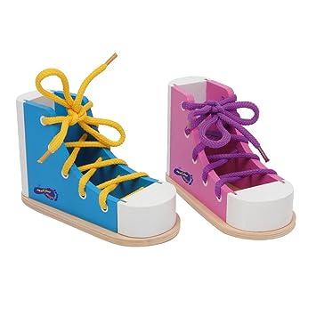 small foot by legler fdelschuh bunt aus holz 2er set in farbenfroher gestaltung inkl - Schnursenkel Binden Muster