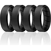 ROQ Silicone Ring for Men - Breathable Silicone Rings with Comfort Fit Air Flow Design - Comes in 1/4/6 Packs - Mens…