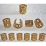 Dread Lock Dreadlocks Braiding Beads Golden Metal Cuffs Hair Accessories Decoration Filigree Tube 8mm 10pcs Pack by Magic