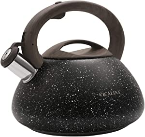 VICALINA Tea Kettle 2.7 Quart Natural Stone Finish with Wood Pattern Anti-Hot Handle Loud Whistle Food Grade Stainless Steel Teapot, Anti-Rust, Suitable for Gas,Induction
