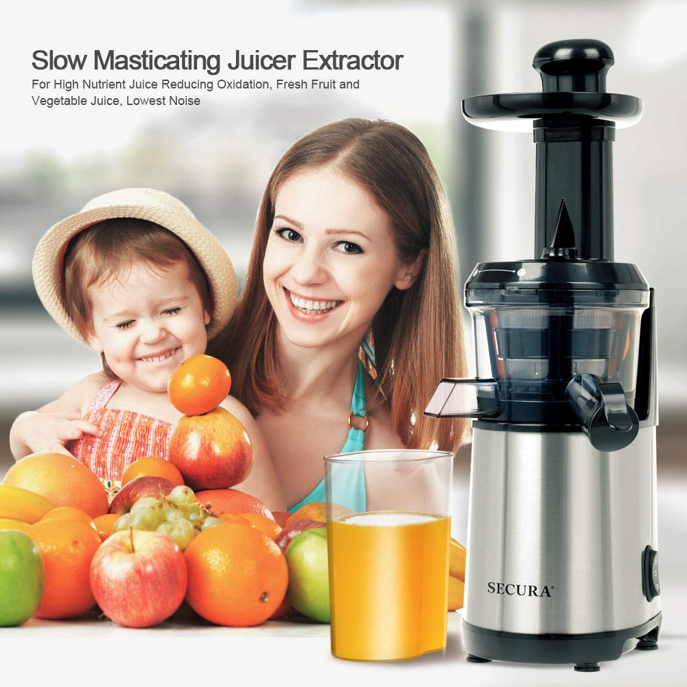 Secura Slow Juicer Masticating Juicer Big Mouth' Cold Press Juicer, Low Speed Juicer for High Nutrient Fruit and Veggies Juice by Secura (Image #2)