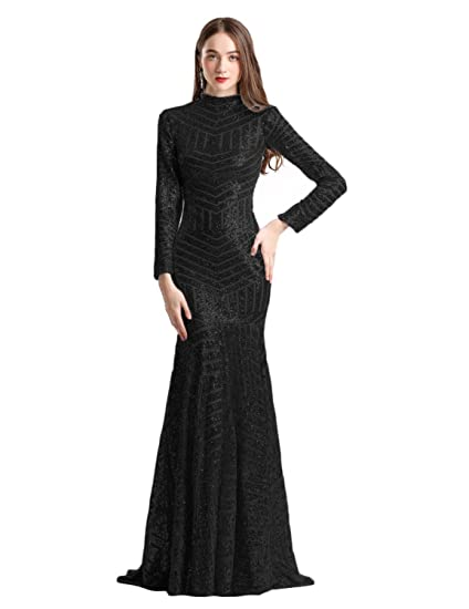 Long Sleeves Mermaid Prom Dresses Sequined Pattern Evening Pageant