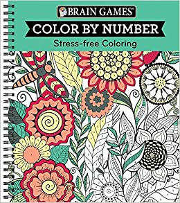 amazoncom brain games color by number stress free coloring green 9781680227703 editors of publications international ltd books - Color By Number Books