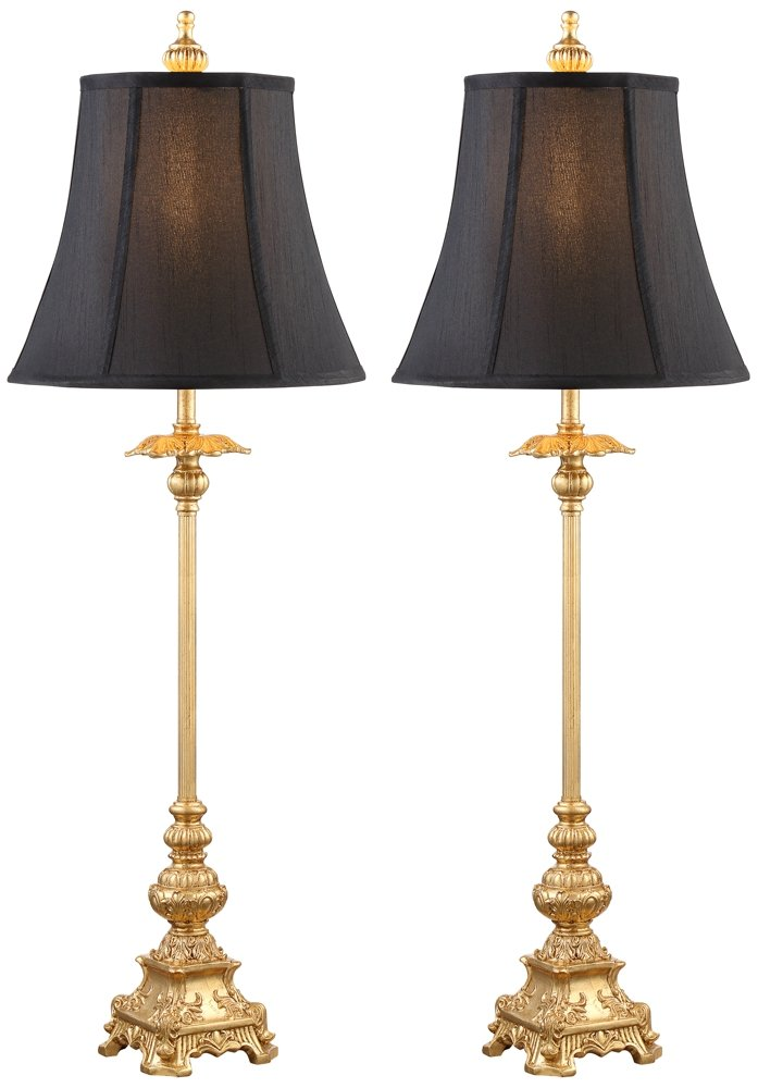 Juliette gold with black shade buffet table lamp set of 2 amazon com